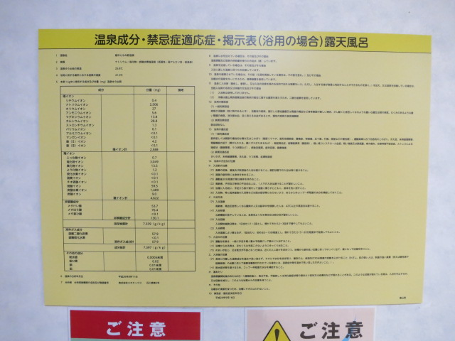 砺波ロイヤルホテル(越中となみ野温泉) 成分表